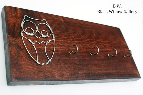 Items Similar To Red Mahogany Wired Owl Key Chain Rack