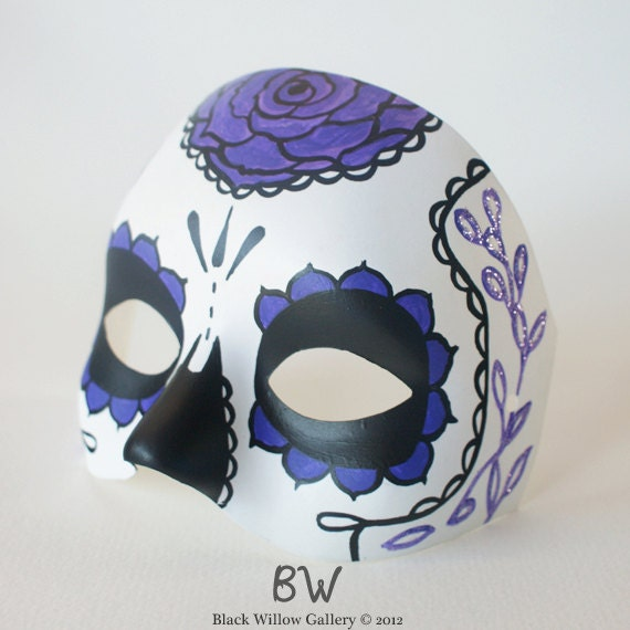Fancy Rose Day Of The Dead Mask Sugar Skull By
