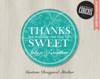 Custom Wedding Stickers - Classic Filigree Thank You Labels