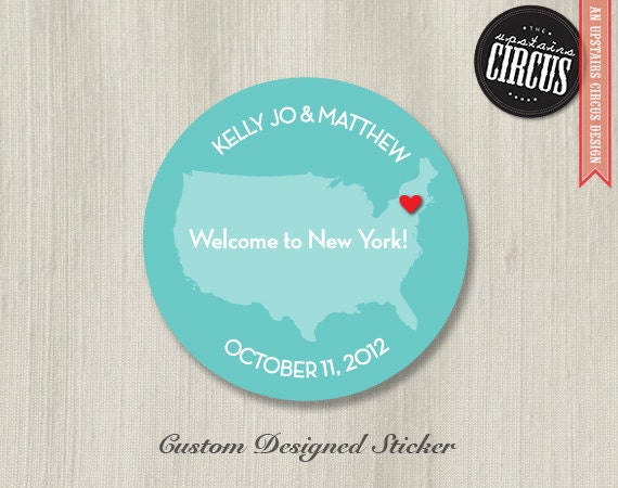 Custom Wedding Stickers - State Love Welcome Theme