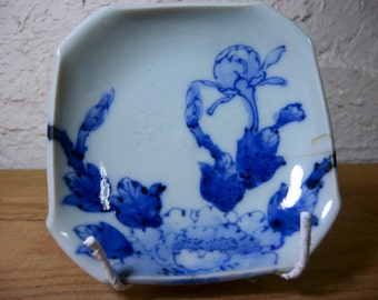 Japanese porcelain plate 2514a, blue and white, imari, japanese antiques
