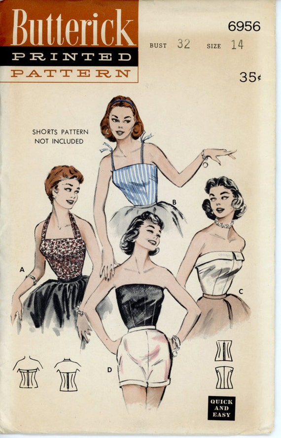 Butterick 6956 Misses 1950s Halter Top Pattern Camisole - Cuffed Strapless Bustiere Evening Tops Womens Vintage Sewing Pattern Bust 32 UNCUT