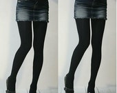 Fall or Winter Season, Woman's Black Opaque Strong Tights,  Panty hose,  for women from 120-160 lbs, Size M/L