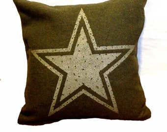 Star Pillow Cover from Military Blanket
