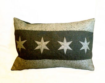 Chicago Flag Pillow Cover from Military Blanket - Olive Green
