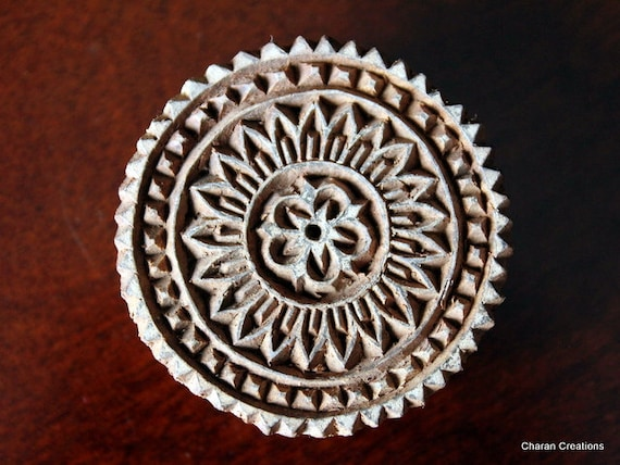 Hand Carved Indian Wood Textile Stamp Block- Round Geometric Motif