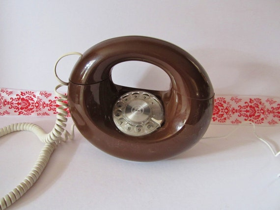 WORKS--Vintage Brown Chocolate Donut Rotary Dial Phone
