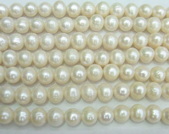 Freshwater Pearl Beads Genuine Natural Pearl 9-10mm Offround White 15''L 5286 Wholesale Pearls