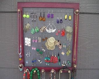 jewelry organizer jewelry holder purple heart purple heartwood exotic hardwood sustainable wood hanging jewelry holder earring holder
