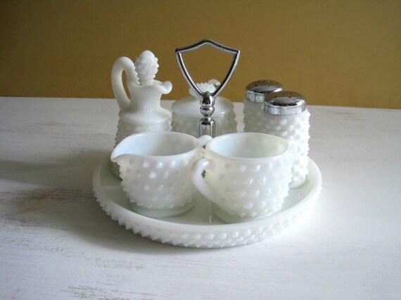 Vintage Milk Glass Hobnail Condiment Set By Goldendaysantiques