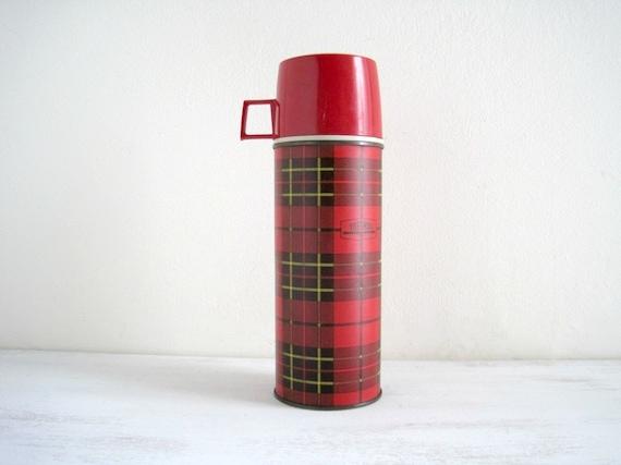 Vintage Metal Red Plaid Thermos - 1964