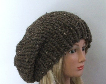 Made to Order - Chunky Knit Chestnut Brown Slouchy Beret Hat