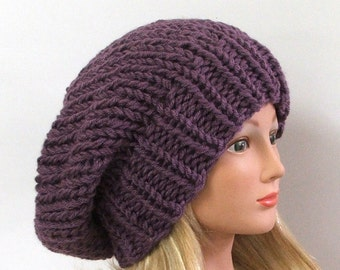 Made to Order - Chunky Knit Dusty Purple Slouchy Beret Hat