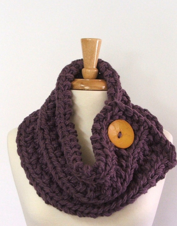 Chunky Knit Dusty Purple Cowl Scarf with Large Yellow Button