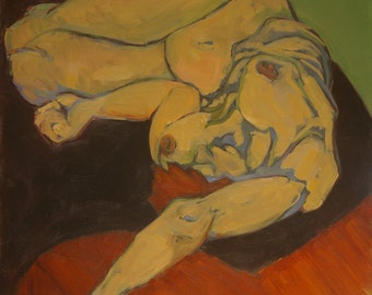 Nude Female - Emily Reclining - Large Painting - original oil painting - large original figurative painting - figurative - Female Nude - Art