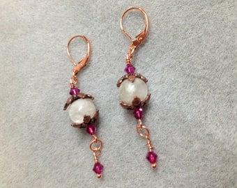 Rainbow moonstone, Swarovski crystal & copper earrings