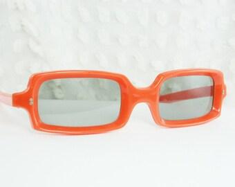 60s Sunglasses 60s Orange Rectangular Sun Glass Pumpkin Horn Rim Light Gray Lens Non Prescription NOS Larger Size Japan