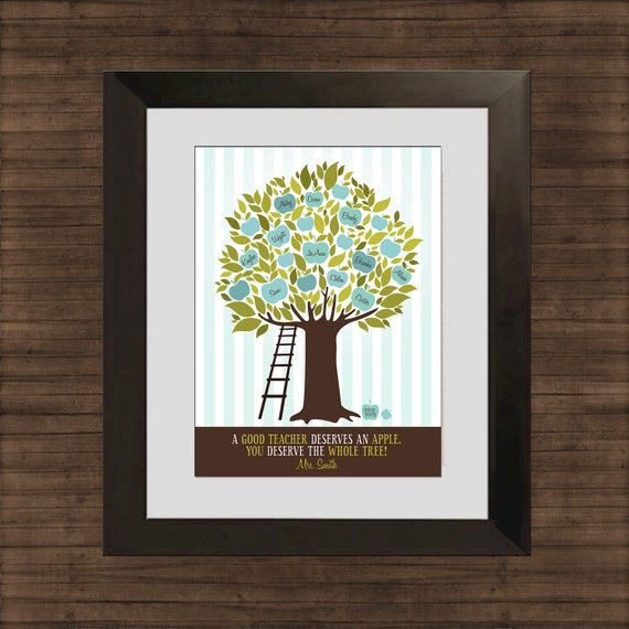 Apple tree custom art print personalized class gift for for Apple tree classroom decoration