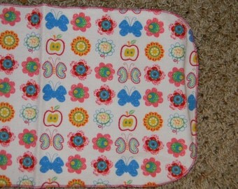 Apple, Flower, and Butterfly Burp Cloth