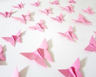 40 Blue Tip Pink Origami Butterflies