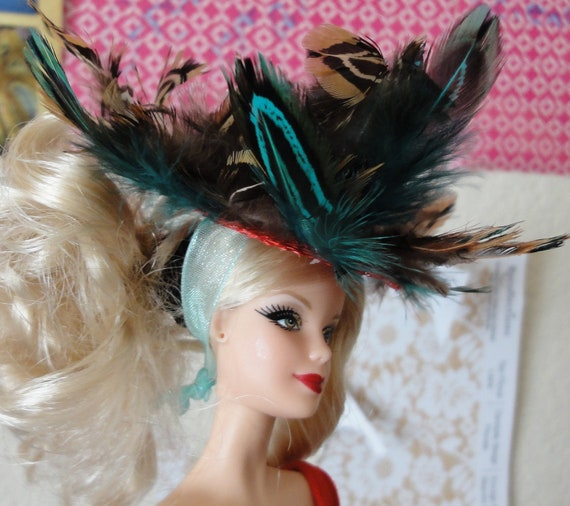 Crazy Feathered Barbie Doll Hat Feather Red Blue Green Brown