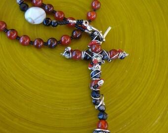 50 Bead Chotki, Prayer Rope, Komboskini, St. Pachomius, Jesus Prayer, Carnelian, Shell