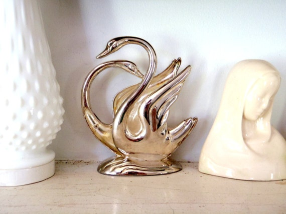 Swan Letter Holder Vintage Metal Desk Organizer Two Headed Swan