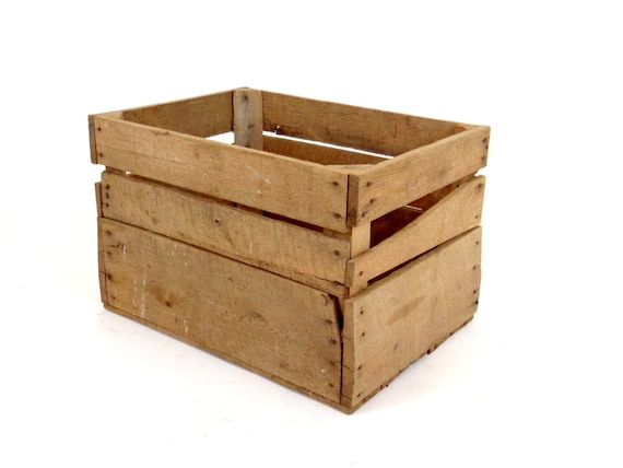 Wood crate rustic crate fruit crate large crate lp record for Wooden fruit crates