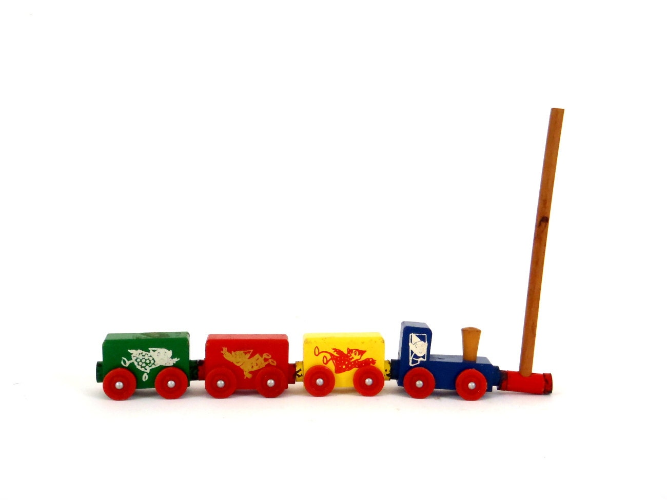 Train Set Wooden Toy Vintage Magnetic Wooden Train By