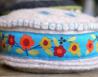 OOAK Wool Felt, hand embroidered Pin Cushion Pincushion