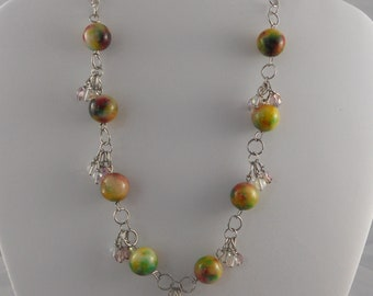 Multi-Color Candy Jade and Silver Dangle Necklace
