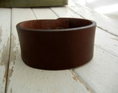 1.5 Inch Wide Genuine SMOOTH DARK BROWN Leather Cuff Bracelet - Cuff Wristband - Cuff Blank - Hand Stamped Jewelry Supply