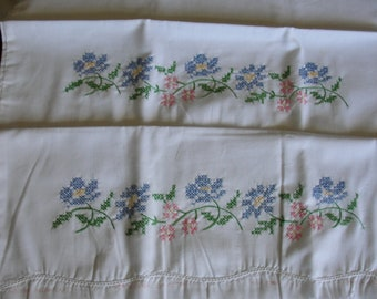Embroidered Pillowcase and Dresser Scarf Kit, almost finished