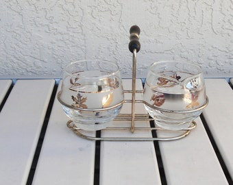Vintage LIBBEY Creamer And Sugar Bowl Set On A Stand.