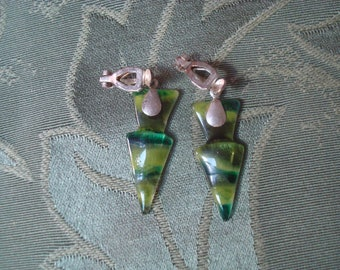 Green glass and silver clip earrings