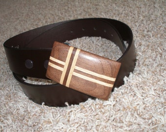 Hand Carved Natural Walnut Belt Buckle with Maple Cross Inlay Cool Valentines Gift Idea