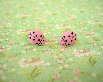 Light Pink Laybugs Earrings,  Light Pink Ladybugs, Pink Black Ladybugs Buttons Earrings - 10mm