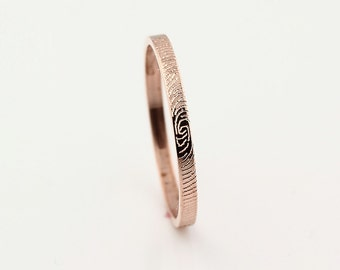 2mm Custom Fingerprint Ring - 14k Rose Gold  Custom Wedding or Commitment Band - fine line engraving