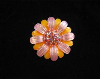 Vibrant, flower brooch, pink, orange w rhinestones