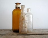 Antique Glass Bottle Collection -Clear Apothecary Containers - Bud Vases, Industrial