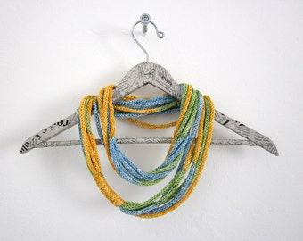 Fruttamix green,yellow, blue multicolor loop scarf in cotton