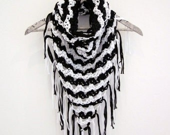 Crochet fringe cowl neck scarf in black and white