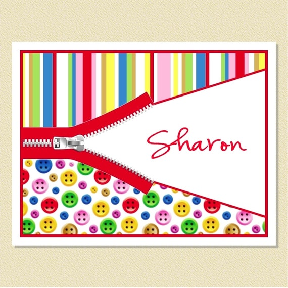 Sew Cute - Personalized Note Cards - Perfect For Anyone That Loves Sewing (10 Folded)