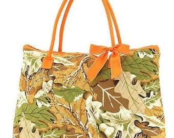 GREAT SALE     Camoflauge Quilted Large Tote Bag Orange Custom Embroidery