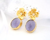 Purple Passion Earrings, Lilac, Lavender, Flower Earrings, Purple Gold, Dangle Earrings, Gold Earrings, Cubic Zirconia