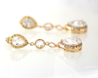 Wedding Bridal Earrings Clear White Crystal Zirconia Earrings Wedding Bridal Bridesmaid Gold bridal earrings Cubic Zirconia