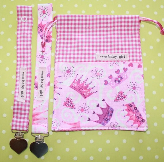Pink Crowns Baby Girl Pacifier Clip and Drawstring Bag