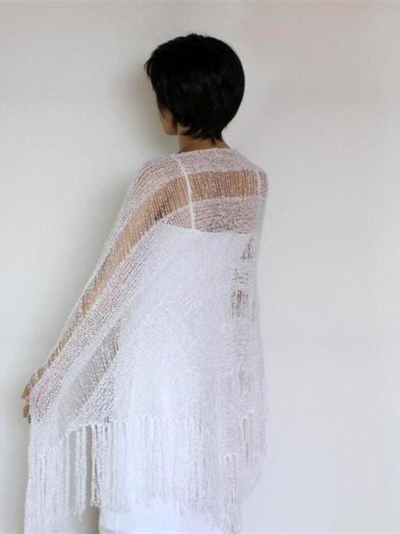 White Wedding Wraparound Shawl, Long Fringe Scarf, Knitted Scarf , Womens Clothing Accessories