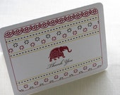 Indian Thank You Card - Decorated Elephant Note Card Gift Set of 10 - Personalized