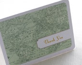 Vintage Map Thank You Card - Travel Destination Note Card Gift Set of 10 - Personalized